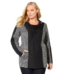 Avenue Women's Grey Quilted Fleece Anorak Jacket * See this awesome image : Plus size coats Anorak Jacket, Hooded Jacket, Plus Size Coats, Plus Size Outfits, Plus Size Fashion, Fashion Brands, Fashion Outfits, Grey, Sweaters
