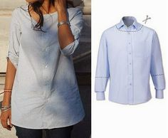 DIY refashion - since men's shirts are so feminine in color these days, I love this. another diy idea for upcycling men's shirts Fashion men's shirts into something a woman can wear. Another site for more… You know the situation when you have nothing to Shirt Refashion, Diy Shirt, Shirt Men, Diy Clothing, Sewing Clothes, Sewing Jeans, Umgestaltete Shirts, Cotton Shirts, Collar Shirts