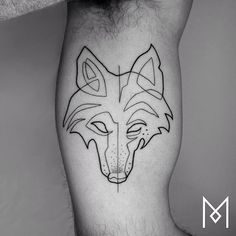 One Line Wolf Tattoo by Mo Ganji