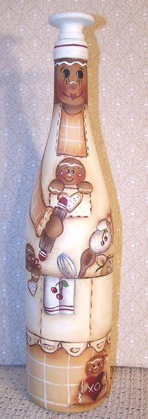 Gingerbread Bottle...Could make Santa or Snowman...