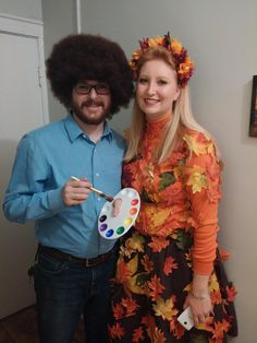 Bob Ross u0026 Happy Tree  sc 1 st  Pinterest & Halloween couple costume! Bob Ross u0026 a
