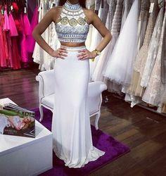 dress white dress egyptian style two-piece beaded dress slim fit