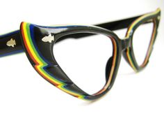 Wild Vintage Colorful Cat eye Eyeglasses Frame 1950s 1960s France $135