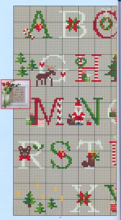 Thrilling Designing Your Own Cross Stitch Embroidery Patterns Ideas. Exhilarating Designing Your Own Cross Stitch Embroidery Patterns Ideas. Xmas Cross Stitch, Cross Stitch Letters, Counted Cross Stitch Patterns, Cross Stitch Charts, Cross Stitch Designs, Cross Stitching, Cross Stitch Embroidery, Christmas Alphabet, Embroidery Alphabet