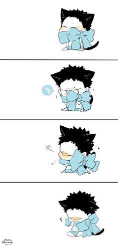 OMG! Cuteness Overload! *-* Too much cuteness!  It's too cute for our world! XD #Haikyuu #Iwaizumi #FuckingKawaiiIwaChan