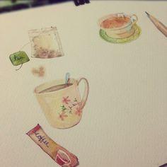 painting tea time   เพ้นท์ไป หอมไป ;) #watercolor #painting