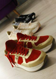 Замшеві кросівки - Червоні із золотом c86cedacc87c1
