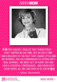 """As a 10 year breast cancer survivor, Alisa Savoretti begins each day with prayer and gratitude. Through her experience, Alisa started """"My Hope Chest"""" to be of service to others in the same situation. She encourages survivors to not let cancer define their life going forward and to make big plans."""