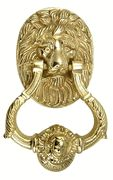 4 3/4 Inch (3 3/4 Inch c-c) Large Ornate Lion Door Knocker (Polished Brass Finish)