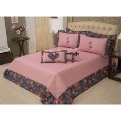 Cobre Leito Casal Padrão Lorena 05 Peças Bed Cover Design, Bed Linen Design, Draps Design, Copper Bed, Diy Bett, Diy Bed Frame, Sewing Pillows, Quilt Cover Sets, Bed Covers
