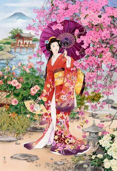 Colores de paleta con flores pero pinceladas estilo cubista o expresionista