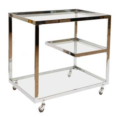1stdibs | Italian Chrome and Glass 3 Tiered Bar/ Serving Cart