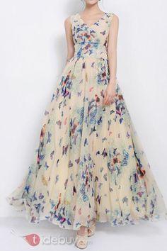 ボヘミアンビッグ裾プリントマキシドレス