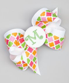 Look at this #zulilyfind! Green & Orange Quatrefoil Initial Bow by Picture Perfect Hair Bows #zulilyfinds