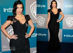 Wholesale Kim Kardashian Mermaid Black Lace Evening Dress Cap Sleeve V-Neck 2012 Golden Globes Party Gown, $196.0-224.0/Piece   DHgate