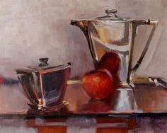 """Daily Paintworks - """"Art Deco with Apple oil. still life painting by Robin Weiss"""" - Original Fine Art for Sale - © Robin Weiss"""