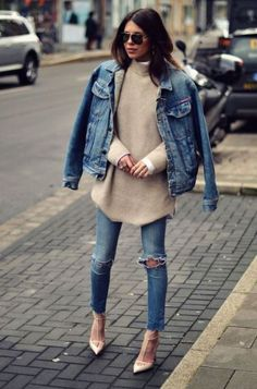 Denim jacket, distressed denim jeans, polar neck jersey over a white long sleeved button-up shirt, sunnies and nude pumps- double denim- fashion and street style Winter Date Night Outfits, Fall Outfits, Cute Outfits, Denim Outfits, Outfit Winter, Sweater Outfits, Denim Fashion, Look Fashion, Fashion Outfits