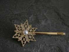 Pearl Hair PinGold Filigree Flower Hair Pin by gazellejewelry, $22.00