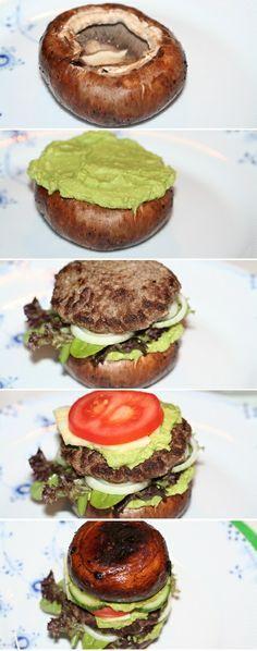 Skift de sædvanlige hvide burgerboller ud med portobellosvampe og prøv vores paleo burger med cremet avocadomos og friske grøntsager :)