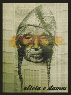 newspaper, ink (sharpie), and watercolor Native American drawing -- Alicia Stamm