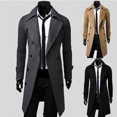 mens trench coat slim winter warm long jackets outwear double breasted overcoat in Coats & Jackets Winter Trench Coat, Trench Coat Men, Men Coat, Winter Coats, Winter Jackets, Autumn Coat, Mens Winter Coat, Duffle Coat, Parka Coat