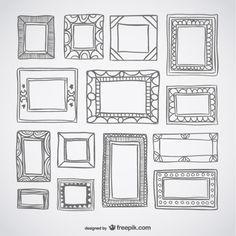Deco frames retro set doodle wall art  vynil silohuette