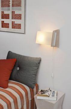 Leena wall lamp by Yki Nummi from side. Light, Wall Lamp, Lamp, Pillows, Home, Throw Pillows, Bed, Wall
