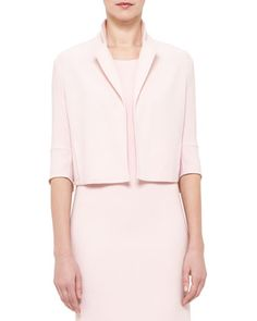 Emma+3/4-Sleeve+Short+Wool+Cocoon+Jacket,+Flamingo+by+Akris+at+Neiman+Marcus.