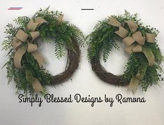 Everyday wreath Farmhouse wreath Double door wreaths all | Etsy - #doubledoorwreaths - Everyday greenery wreath with burlap bow, can be customized with ribbon of your choice. Can be made facing each other for double doors. 18 inch grapevine wreath is used with various greenery and a 2.5 inch ribbon bow. This wreath is a made to order. This wreath will be made for you. If the exact materials aren't available similar materials will be used. Ribbon choices can be customized by you the customer…