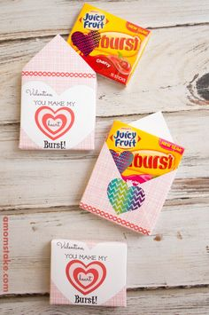 Free printable valentines day envelopes to make your own cute classroom or gift valentine cards! You make my heart burst, valentine! Load in a pack of gum and you've got a super easy gift! (AD)