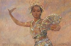 Danseuse balinaise à l'éventail by Willem Gerard Hofker