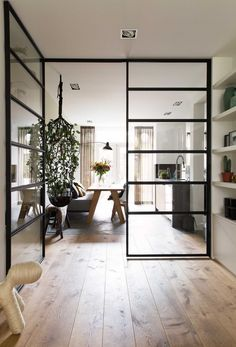 Steel frame Crittall windows in an open plan contemporary living space Interior, Contemporary Living Spaces, Home, Doors Interior, House Interior, Home Deco, Trendy Dining Room, Home Interior Design, Home And Living