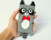 Items similar to Crocheted Raccoon Cell Phone Cozy - (Made to Order) on Etsy