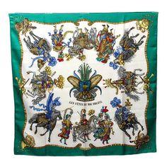 Hermes Pre-owned: red 'Les Fetes Du Roi Soleil' silk scarf Silk Scarves, Hermes Scarves, Hermes Paris, Boutique, Decoration, Vintage Ladies, Floral Tops, Prints, Design