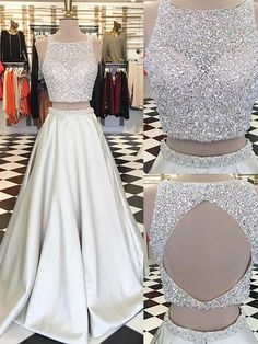 Beading prom dresses,two pieces prom dress,champagne prom dress,modern prom dress,fashion prom - Thumbnail 5 Sequin Prom Dresses, Prom Dresses Two Piece, Prom Dresses For Teens, Prom Dresses 2018, A Line Prom Dresses, Cheap Prom Dresses, Formal Dresses, Dress Long, Dress Prom