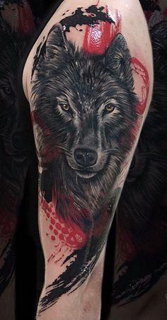 wolf tattoo with trash polka touches © tattoo artist Chehomova Dasha 💕📌. - wolf tattoo with trash polka touches © tattoo artist Chehomova Dasha 💕📌💕📌💕 - Wolf Sleeve, Wolf Tattoo Sleeve, Sleeve Tattoos, Tattoo Wolf, Tattoo Arm, Wolf Tattoo Forearm, Tattoo Finger, Snake Tattoo, Lion Tattoo