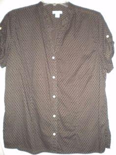 ea255ec60a8 Dockers Size Large Brown Short Sleeve Button Front Cotton Women Top Shirt  Blouse #Dockers #ButtonDownShirt #Versatile