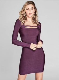 Stun at every occasion in this ultra-luxe bandage dress complete with long sleeves and modern cutout details | MARCIANO.com