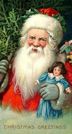 Antique Father Christmas Postcard.