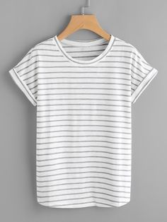 62bb45920 Striped Rolled Cuff Tee