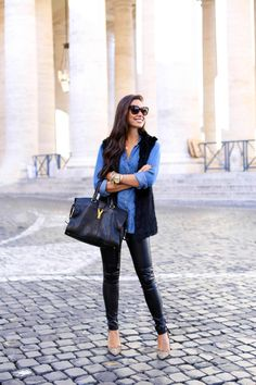 Kat Tanita of With Love From Kat wears leather leggings, a chambray shirt, YSL Cabas Chyc bag, and Aquazzura Marilyn leopard pumps in Rome. Outfits Jeans, Casual Winter Outfits, Fall Outfits, Cute Outfits, Work Chic, Black Vest, Fashion Lookbook, Women's Fashion, Leather Leggings