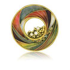 Rare Marilyn Druin 18k & 22k Gold Enamel Diamond Brooch Pendant !
