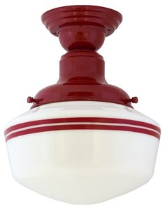 Intermediate Schoolhouse Semi-Flush Mount Light, love this EXACT light for a pale yellow country kitchen.