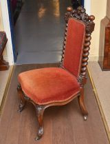 Victorian Carolean style Carved Walnut Nursing Chair - Click for details