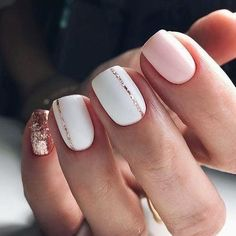 Pink And Rose Gold Glitter Nails. Pink And White Nails. Pink And Rose Gold Glitter Nails. Pink And White Nails. Cute Spring Nails, Spring Nail Art, Nail Designs Spring, Acrylic Spring Nails, White Nail Designs, Pretty Nail Designs, Short Nail Designs, Short Nails Acrylic, Cute Simple Nail Designs
