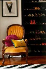 This mom cave uses ikea bookshelves for stilettos and pumps. Talk about repurposing!