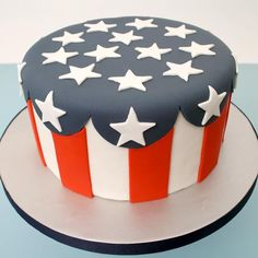 red, white, and blue cake... maybe skip the stars on top and put Welcome Home…