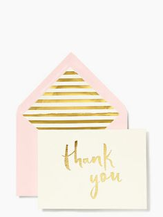 grand gestures, kind words and little acts of love call for a handwritten notes on pretty, personalized stationery. this sweet blush and gold paint brush thank you card lets your show your (equally sweet) gratitude whether you're sending it from near, far or right across the street.
