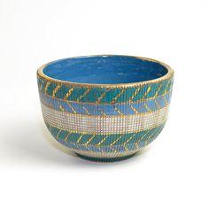 Italian Pottery Bowl - Mid Century Italy, Artisan Handmade Sgrafitto Clay, Gold Accents - Bitossi Raymor Era - Vintage Home Decor or Storage