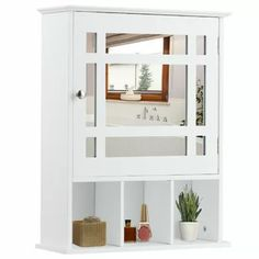 Gracie Oaks Wall-mounted Bathroom Storage Cabinet Mirrored W/adjustable Shelf White Bathroom Mirror Cabinet, Bathroom Wall, Bathroom Furniture, Toilet Storage, Bathroom Storage, Bathroom Shelves, Farmhouse Storage Cabinets, Recessed Medicine Cabinet, Glass Panel Door